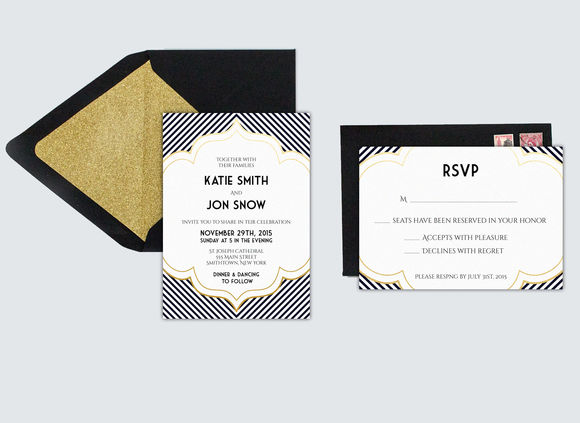 Art Deco Inspired Wedding Invitation by SarahMarieDesignStudio is available from CreativeMarket for $13.