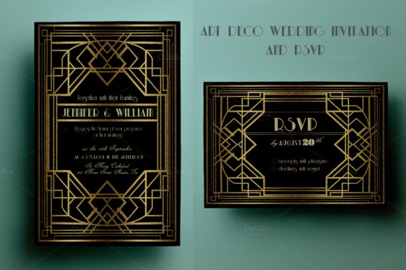 Art Deco Wedding Invitation And RSVP by Annago is available from CreativeMarket for $8.