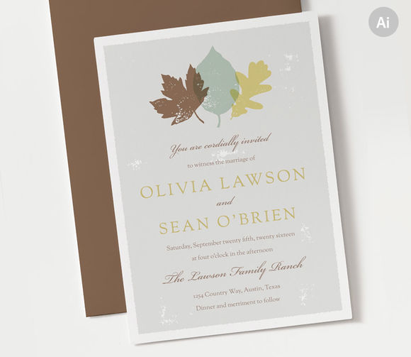 Autumn Wedding Invitation Template by ClementineCreative is available from CreativeMarket for $8.