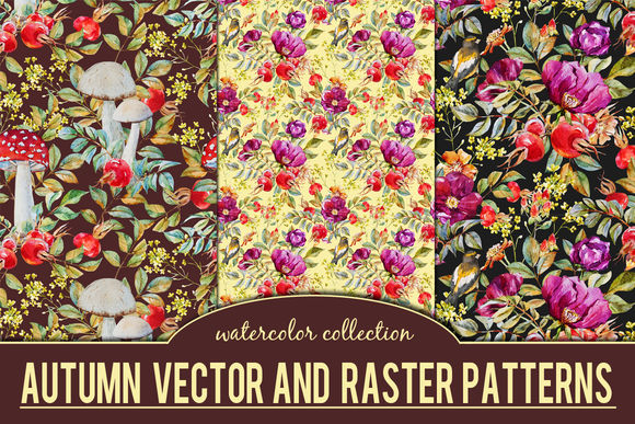 Autumn Watercolor Patterns by LembrikArtworks is available from CreativeMarket for $9.