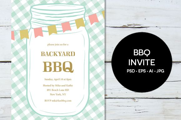 BBQ Party Invitation by Pixejoo is available from CreativeMarket for $8.