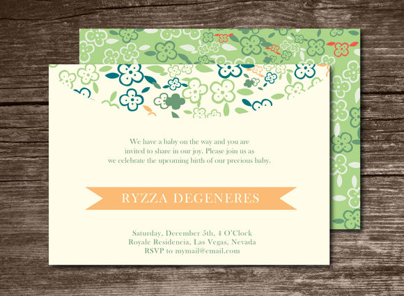 Baby Shower Invitation Flowers by Aticnomar is available from CreativeMarket for $6.