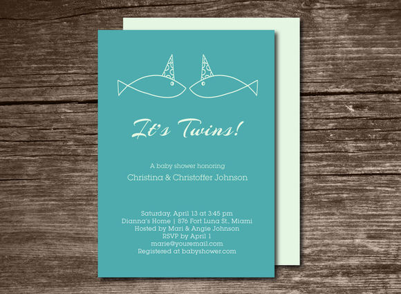 Baby Shower Invitation Twins by Aticnomar is available from CreativeMarket for $6.