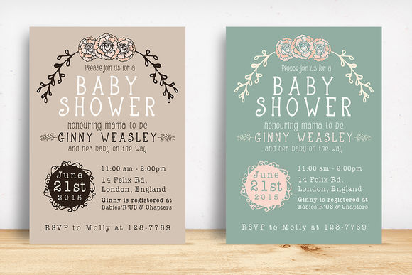 Baby Shower Invitation by KnottedDesign is available from CreativeMarket for $8.