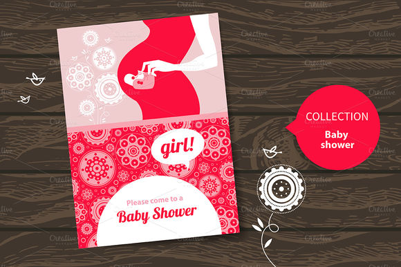 Baby Shower Invitations by ElenaPimonova is available from CreativeMarket for $4.
