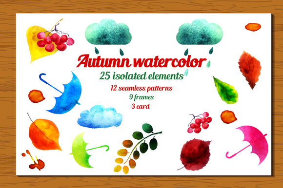 Big Autumn Watercolor by Katyr is available from CreativeMarket for $15.