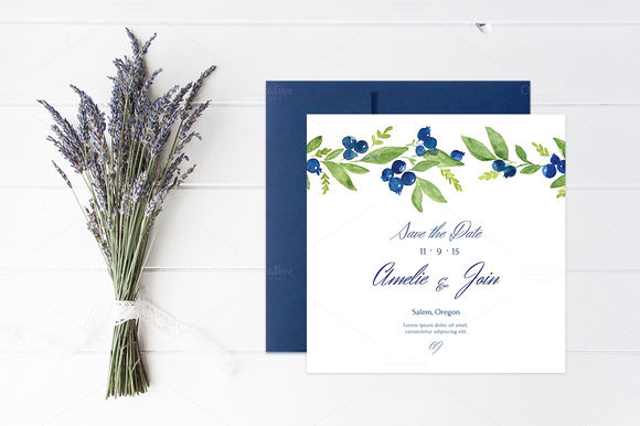Blueberry Wedding Collection by NinaDolgopolova is available from CreativeMarket for $7.