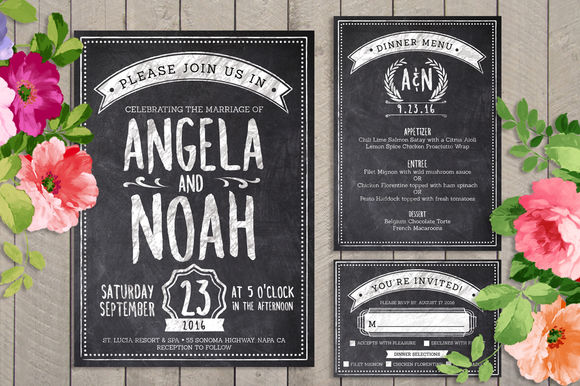 Chalk Wedding Invite Bundle by LucionCreative is available from CreativeMarket for $8.