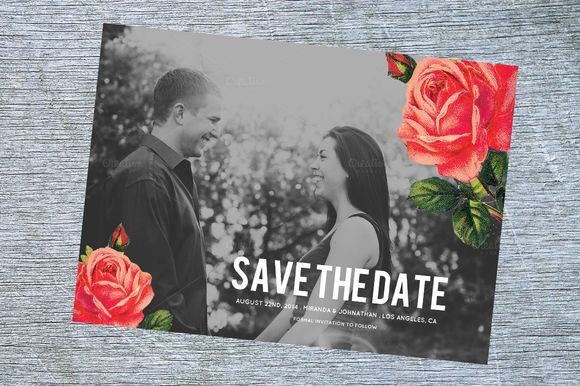 Chic Floral Save The Date by AllyJCreative is available from CreativeMarket for $8.