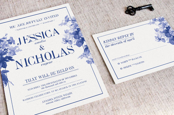 China Blue Wedding Invitation by KlapauciusCo is available from CreativeMarket for $10.
