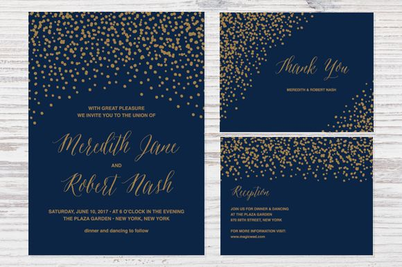 Confetti Wedding Invitation by Pixejoo is available from CreativeMarket for $13.