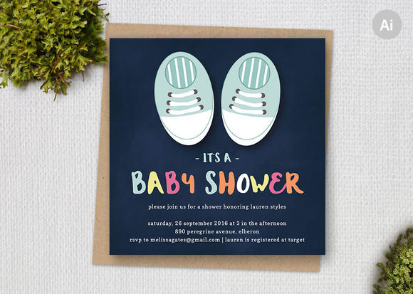 Cute Shoes Baby Shower Template by ClementineCreative is available from CreativeMarket for $8.