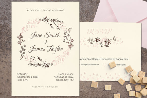 Delicat Wedding Invitation by Webvilla is available from CreativeMarket for $8.