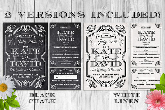 Elegant Chalk Wedding Invite Bundle by LucionCreative is available from CreativeMarket for $10.