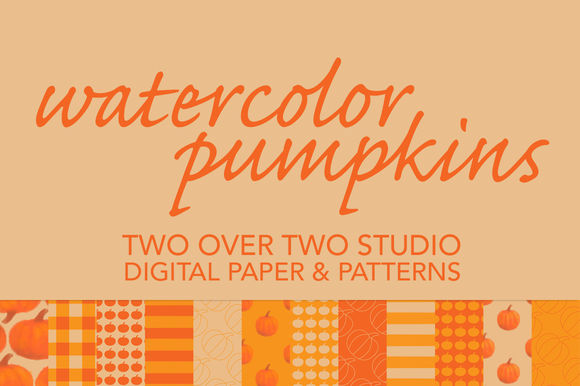 Fall Pumpkins Digital Patterns by TwooverTwoStudio is available from CreativeMarket for $6.