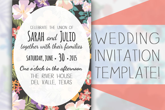 Floral Wedding Invitation Template by Tbarkley is available from CreativeMarket for $10.