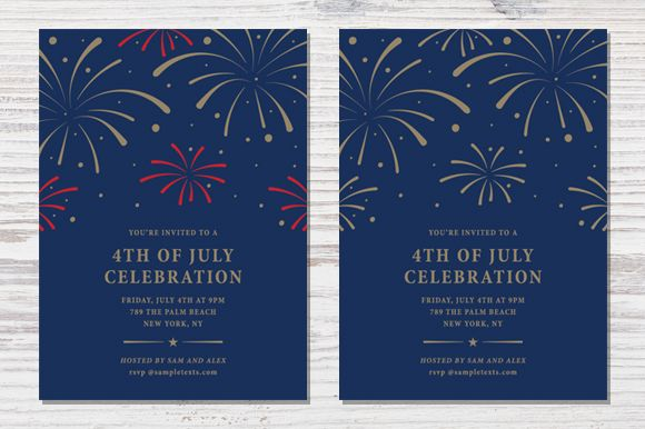 Four4th Of July Invitation Template by Pixejoo is available from CreativeMarket for $8.