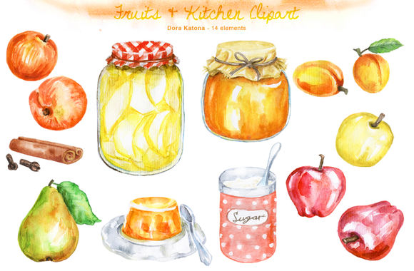 Fruits And Kitchen Clipart by DoraKatona is available from CreativeMarket for $6.