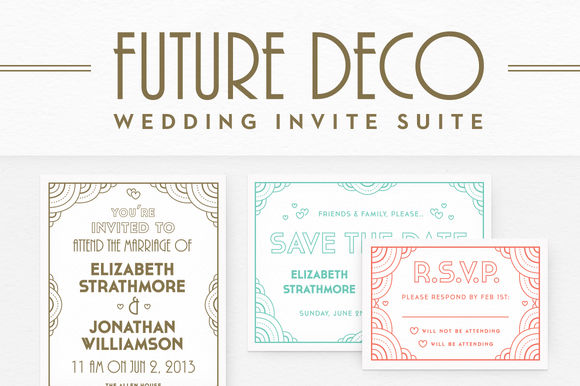 FutureDeco Wedding Invite Suite by GerrenLamson is available from CreativeMarket for $25.