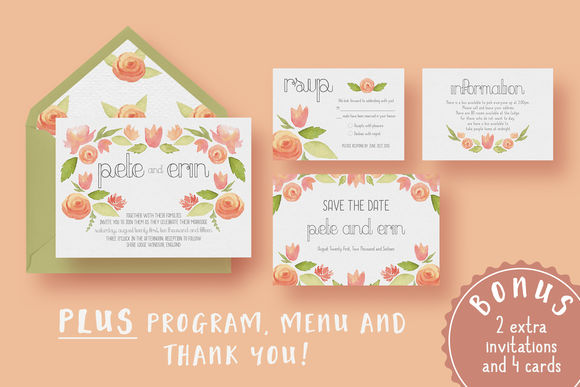 Garden Watercolour Wedding Suite by KnottedDesign is available from CreativeMarket for $20.