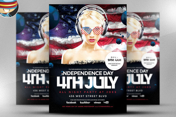 Geometric 4th July Flyer Template by FlyerHeroes is available from CreativeMarket for $9.