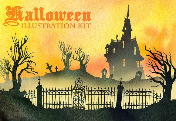 Halloween Illustration Kit by Artbiscuit is available from CreativeMarket for $15.