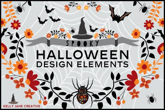 Halloween Spiders Bats And Black Hats by KellyJaneCreative is available from CreativeMarket for $8.