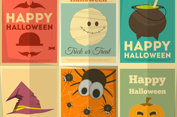Halloween Posters Set by Elfivetrov is available from CreativeMarket for $8.