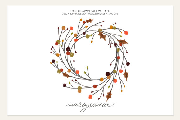 Hand Drawn Fall Wreath by MichLgstudios is available from CreativeMarket for $2.