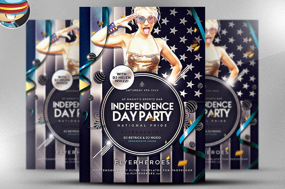 Independence Day Party Flyer by FlyerHeroes is available from CreativeMarket for $9.