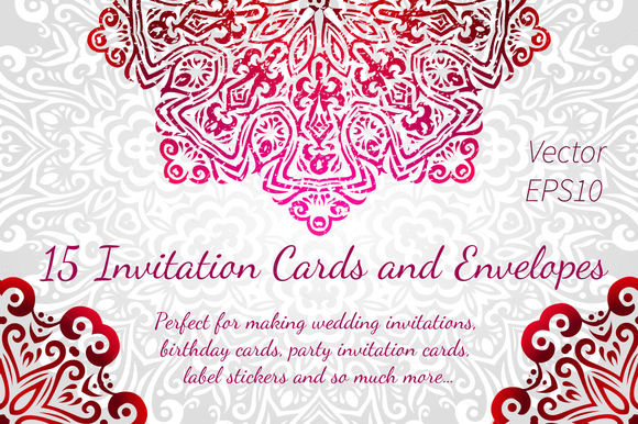 Invitations Cards And Envelopes by ToriArt is available from CreativeMarket for $8.