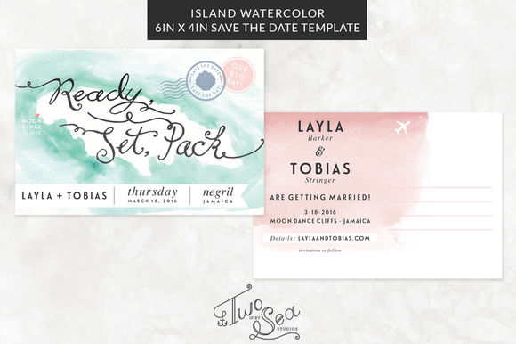 Island Wedding Save The Date by TwoifbySeaStudios is available from CreativeMarket for $20.