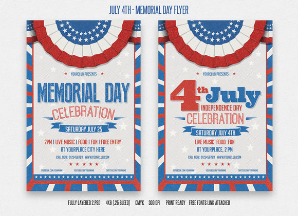 July 4th And Memorial Day Flyer by DesignWorkz is available from CreativeMarket for $6.
