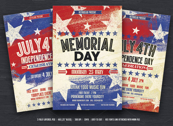 July 4th And Memorial Day Flyers by DesignWorkz is available from CreativeMarket for $6.