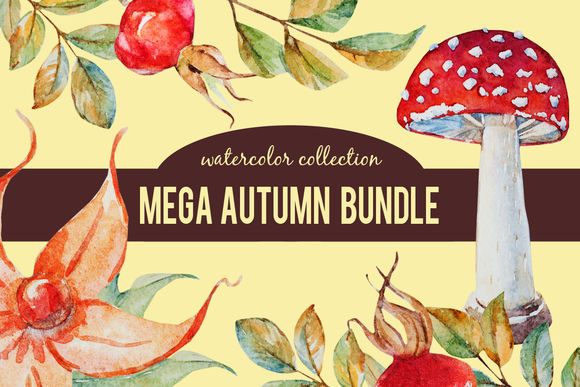 Mega Autumn Watercolor Bundle by LembrikArtworks is available from CreativeMarket for $19.