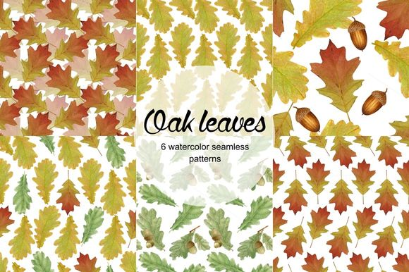 Oak Leaves Seamless Patterns by Curlyfamily is available from CreativeMarket for $8.