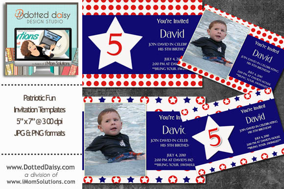 Patriotic Fun Invitation Templates by SomethingChic is available from CreativeMarket for $5.