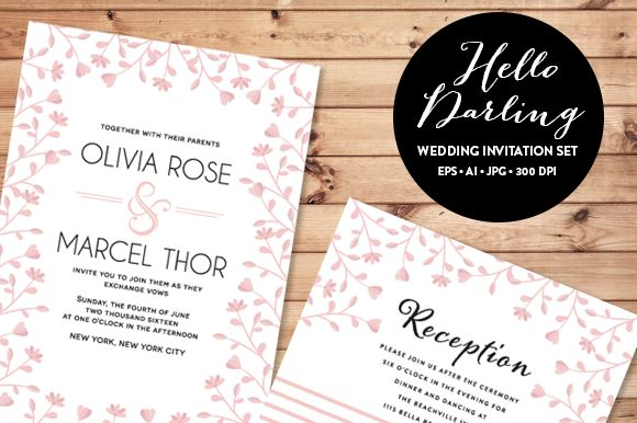 Pink Floral Wedding Invitation Set by Pixejoo is available from CreativeMarket for $13.