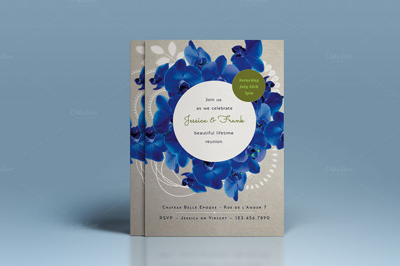 Premium Blue Orchid Wedding Invite by TheWeddingShop is available from CreativeMarket for $7.