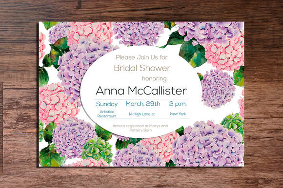 Printable Hydrangeas Invitation X by Interints is available from CreativeMarket for $15.