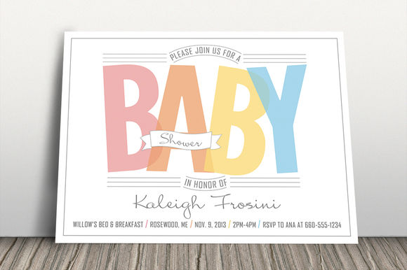 Rainbow Baby Shower Invitation by ErinManuel is available from CreativeMarket for $3.