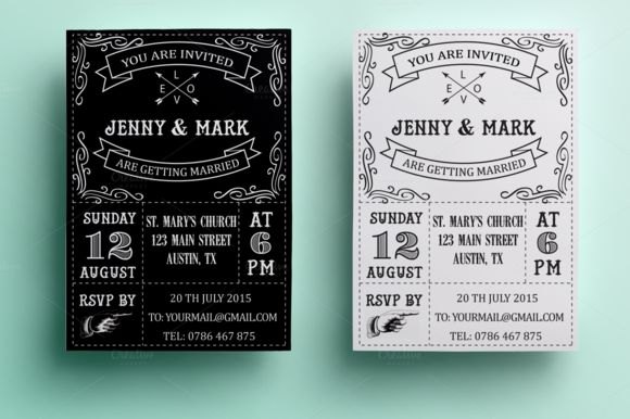 Retro Wedding Invitation by Annago is available from CreativeMarket for $7.