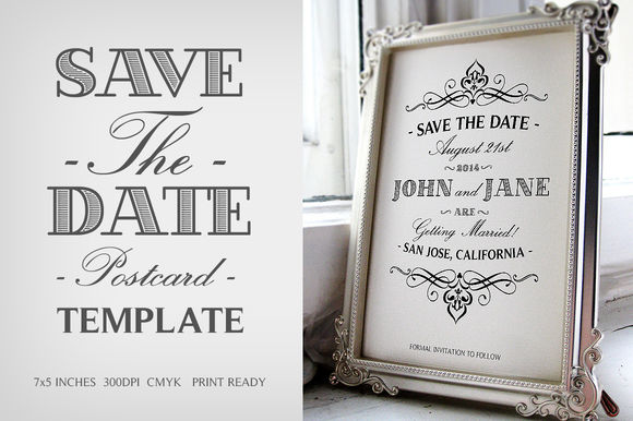 Save The Date Postcard Template V by ZeppelinGraphics is available from CreativeMarket for $6.