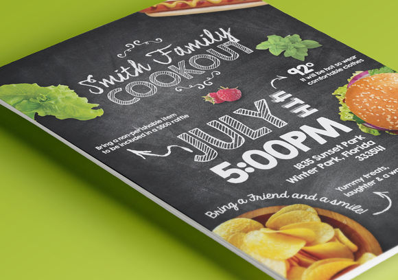 Summer Cookout Party Flyer by VectorChameleon is available from CreativeMarket for $7.