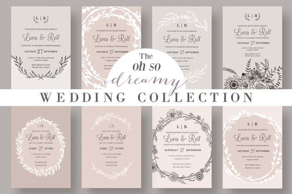 The Dreamy Wedding Collection by KnottedDesign is available from CreativeMarket for $26.