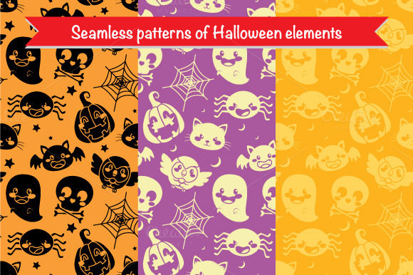 Three Seamless Halloween Patterns by KakigoriStudio is available from CreativeMarket for $10.