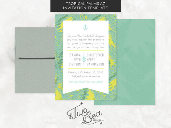 Tropical Palms Invitation Template by TwoifbySeaStudios is available from CreativeMarket for $15.