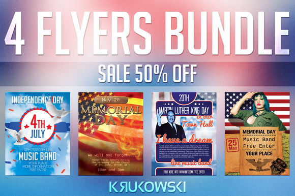 USA Holidays Flyers Bundle by Krukowski is available from CreativeMarket for $12.