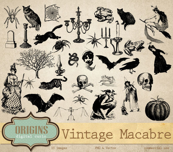 Vintage Macabre Halloween Clipart by OriginsDigitalCurio is available from CreativeMarket for $7.