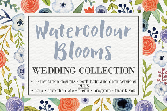 Watercolor Blooms Wedding Collection by KnottedDesign is available from CreativeMarket for $26.